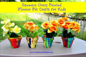 squeezy oozy painted flower pot crafts for kids