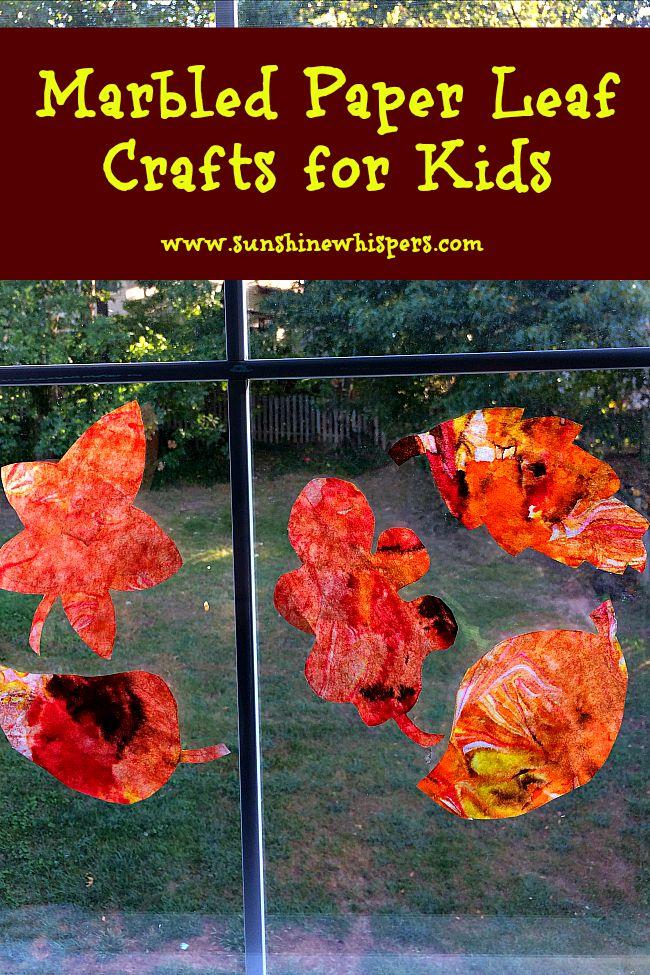 marbled paper fall leaf crafts for kids