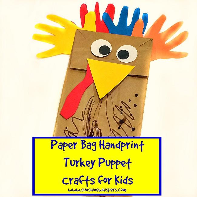 Paper Bag Handprint Turkey Puppet Crafts For Kids