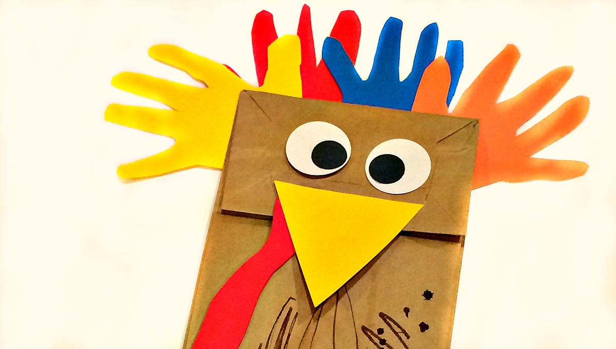 Paper bag handprint turkey puppet crafts for kids for Brown paper bag crafts for preschoolers