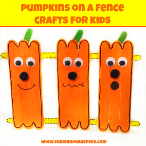 pumpkins on a fence crafts for kids