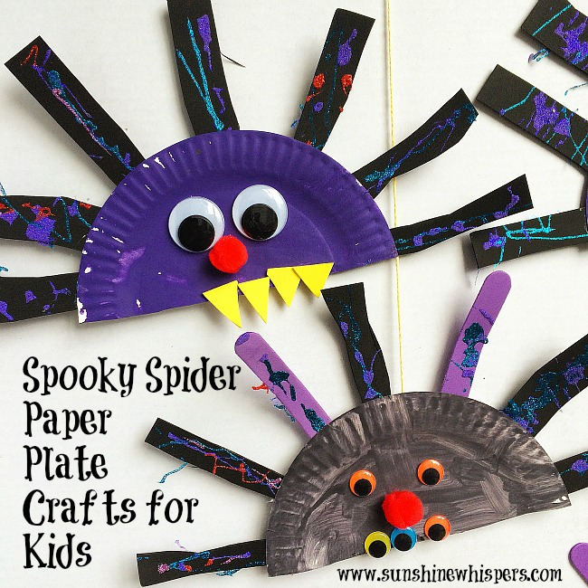 spooky spider paper plate crafts for kids
