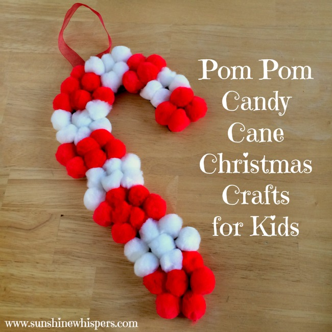 pom pom candy cane christmas craft for kids