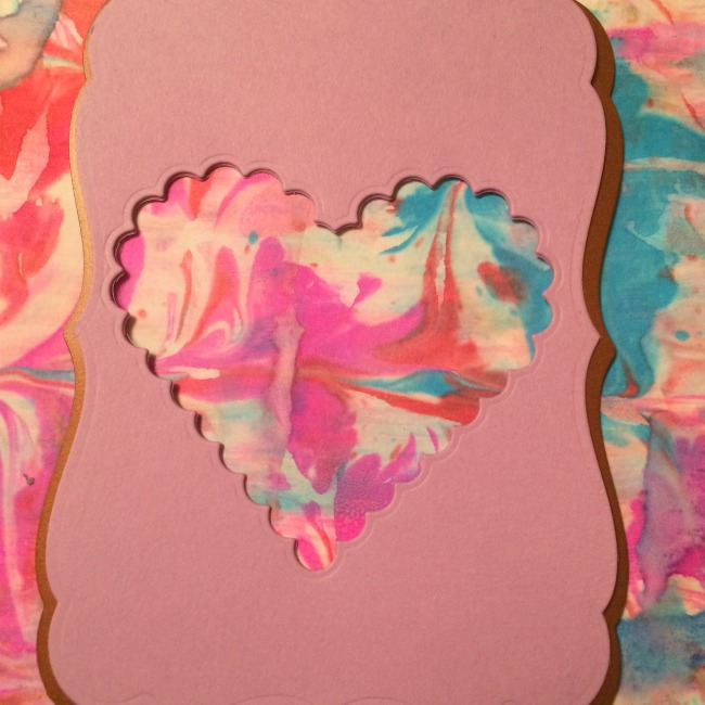 marbled paper heart bookmark handmade gift