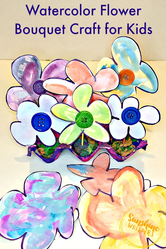 Watercolor Flower Craft For Kids
