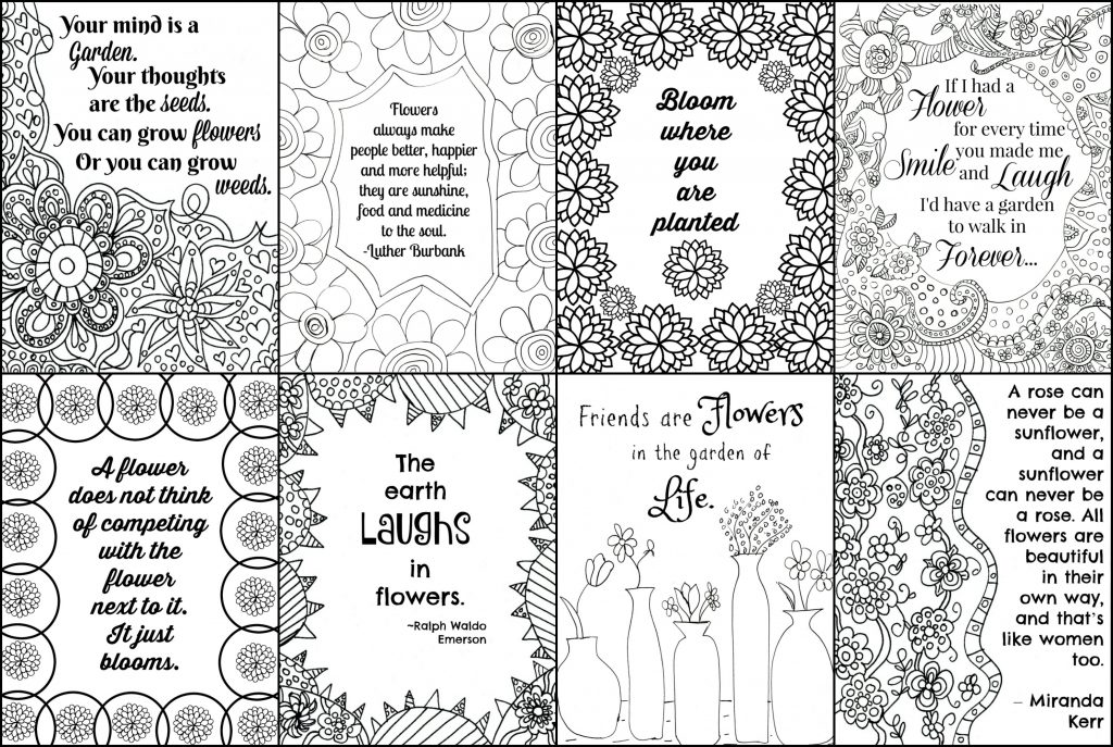 collage coloring pages - free printable flower quote coloring pages