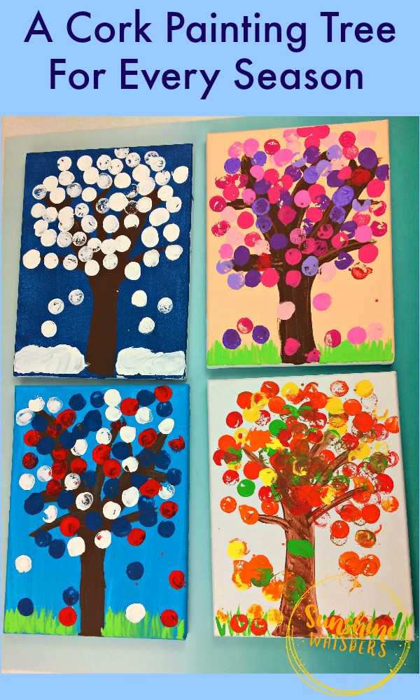 cork painting tree for every season