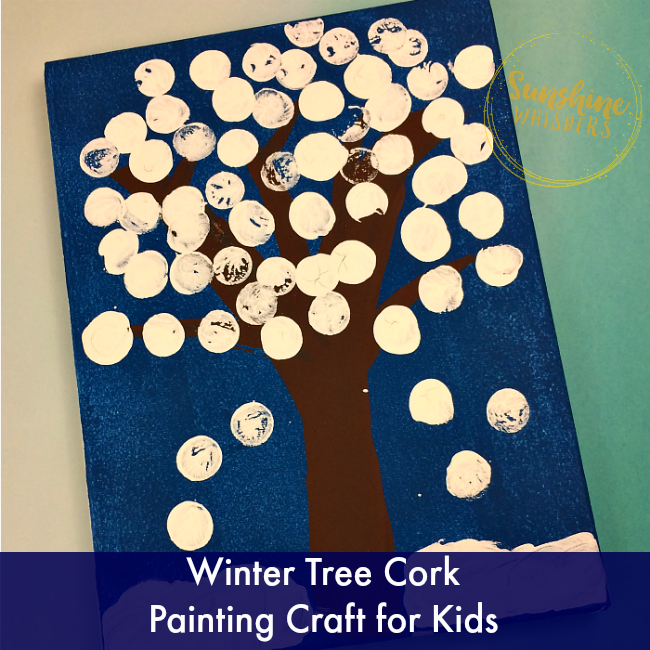 Winter Tree Cork Painting Craft for Kids
